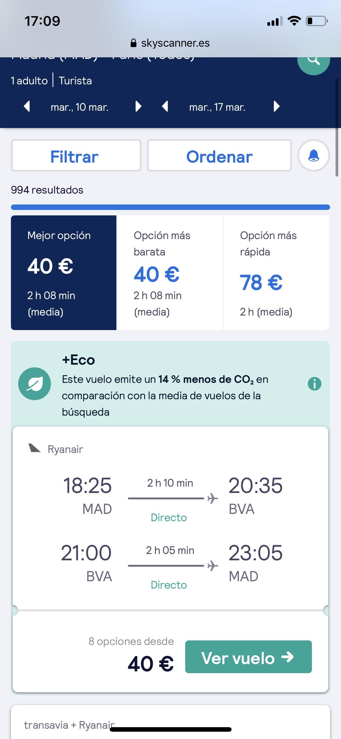 Vuelo Madrid - Paris I/V 40€