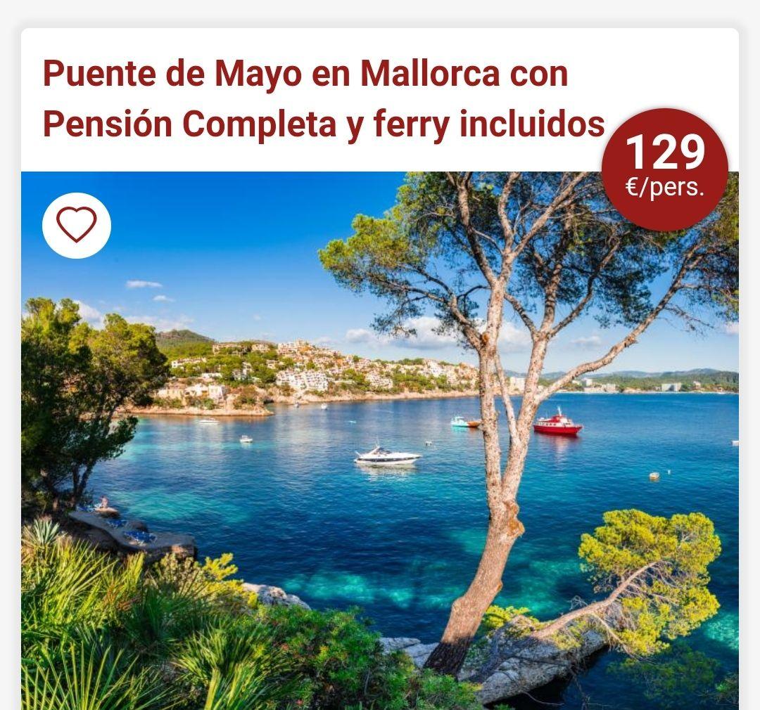 Mallorca puente de Mayo 4 noches hotel 4* en Pension completa+Traslado en Ferry