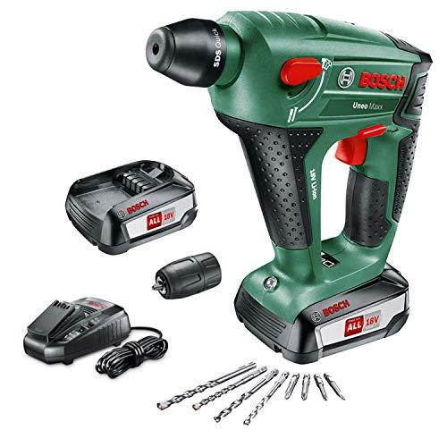 Martillo perforador Bosch + 2 baterías + cargador + brocas varias + maletín