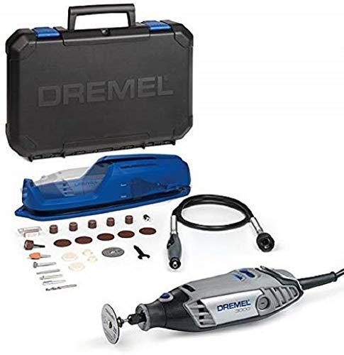 Dremel 3000 de 130 W con velocidad variable 10.000 - 33.000 rpm + kit con eje flexible y 25 accesorios