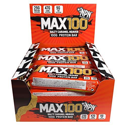 NPN MAX 100 barra de proteínas y carbohidratos | Barrita proteica para deporte, sabor premium | 9x100g Salado Caramelo Heave