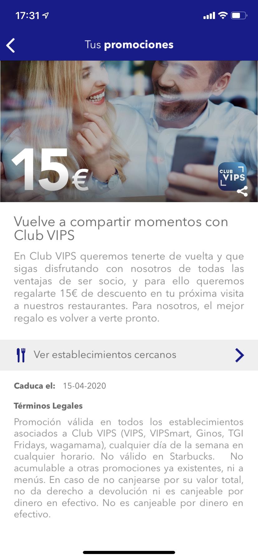 DESCUENTAZO 15 EUROS VIPS