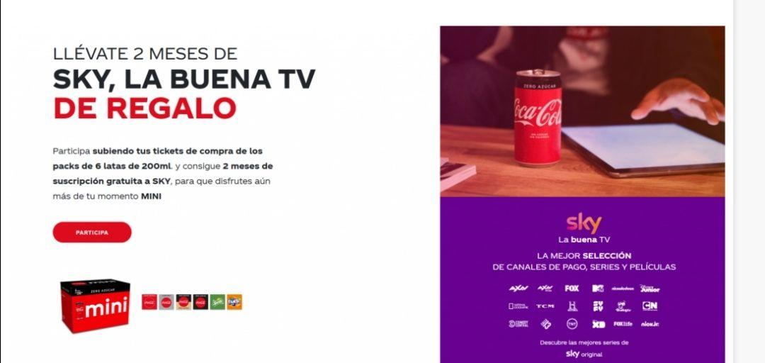 2 meses gratis SKY TV con Coca Cola.