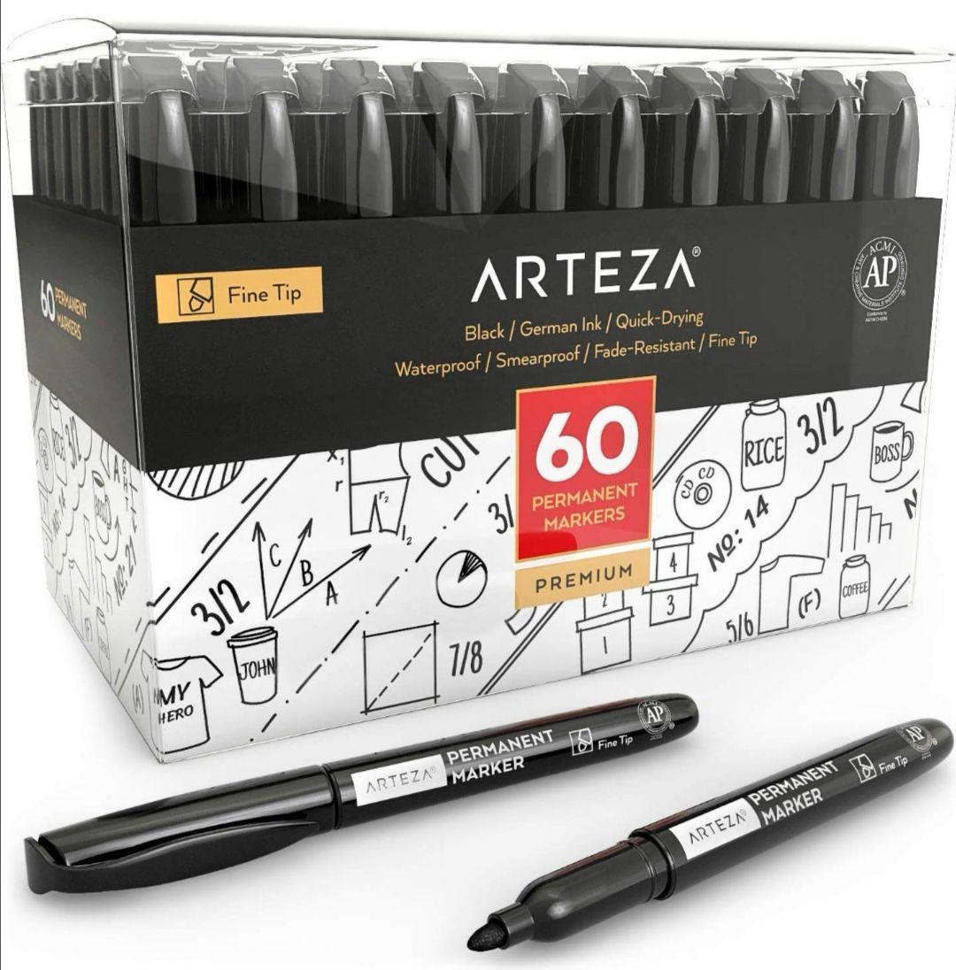 Caja con 60 Rotuladores Arteza permanentes negros Punta fina.(0.28€ unidad)