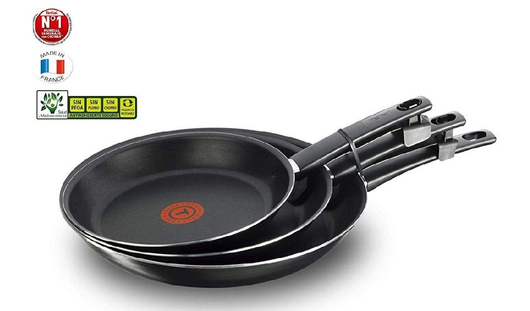 Tefal First Cook - Set de sartenes de Aluminio para Gas y Vitrocerámica,18/22/26 cm, Revestimiento antiadherente