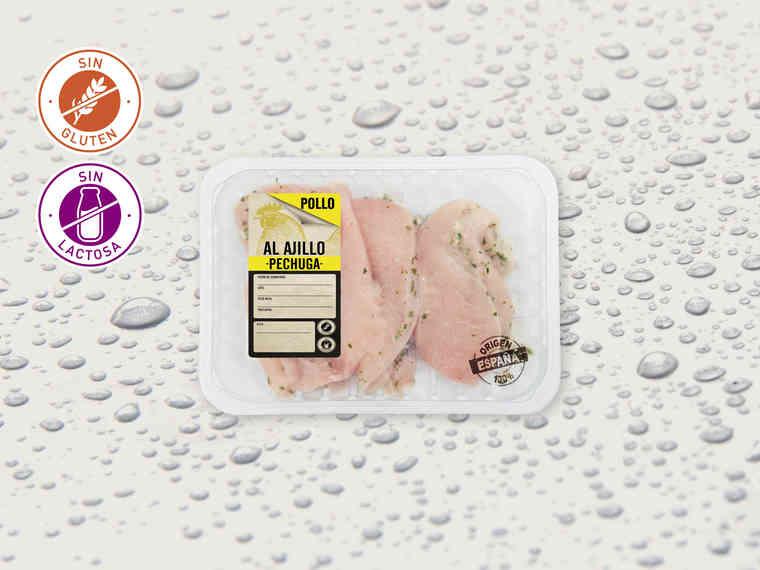 Pechuga de pollo al ajillo fileteada (LIDL)