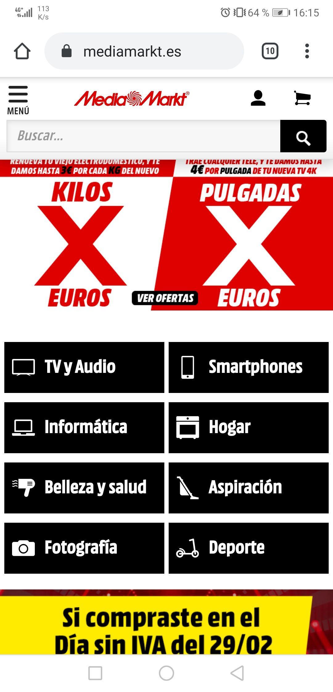 Kilos x Euros en Mediamarkt