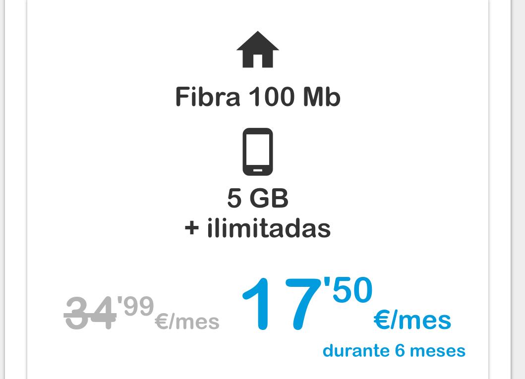 Pack fibra + móvil al 50% durante 6 meses