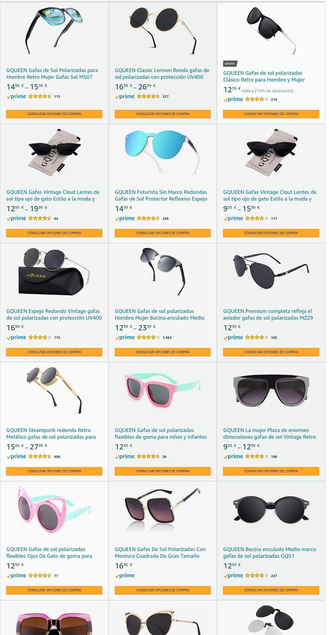 Descuento Amazon en gafas marca GQueen