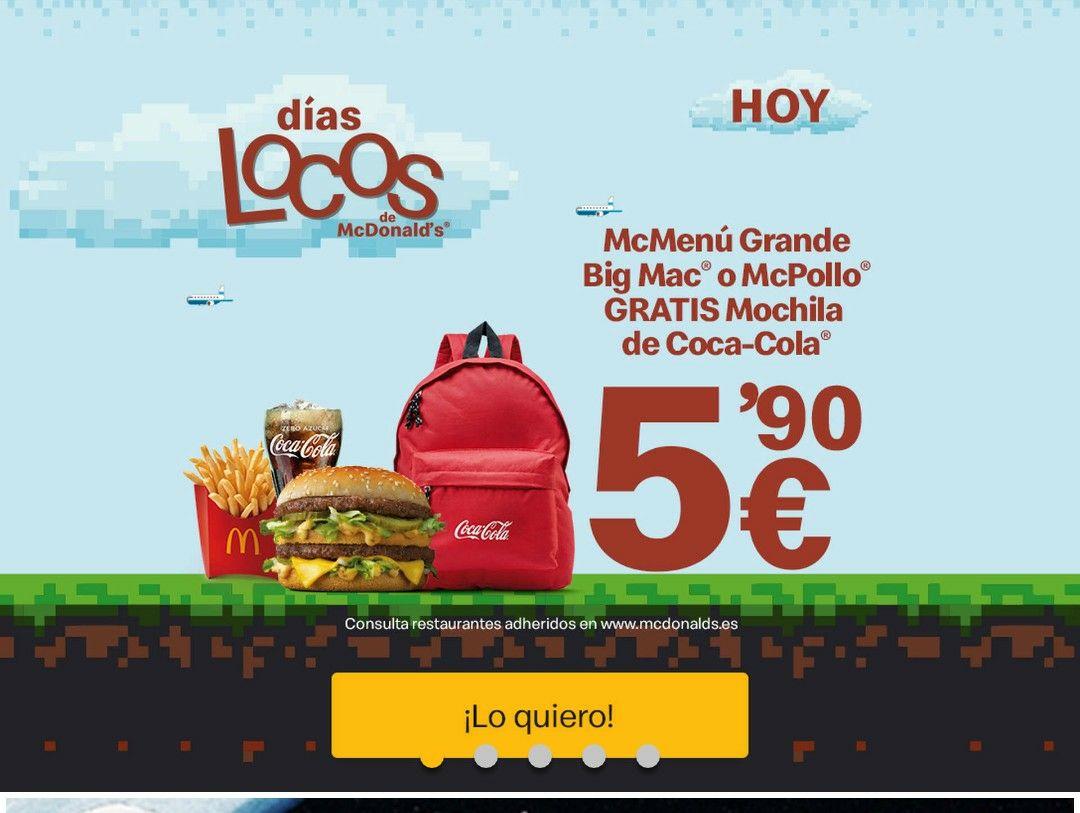 Días Locos de McDonalds Regalo Mochila de Coca Cola Por La Compra De un MC*Menu Grande Big Mac O MC Pollo