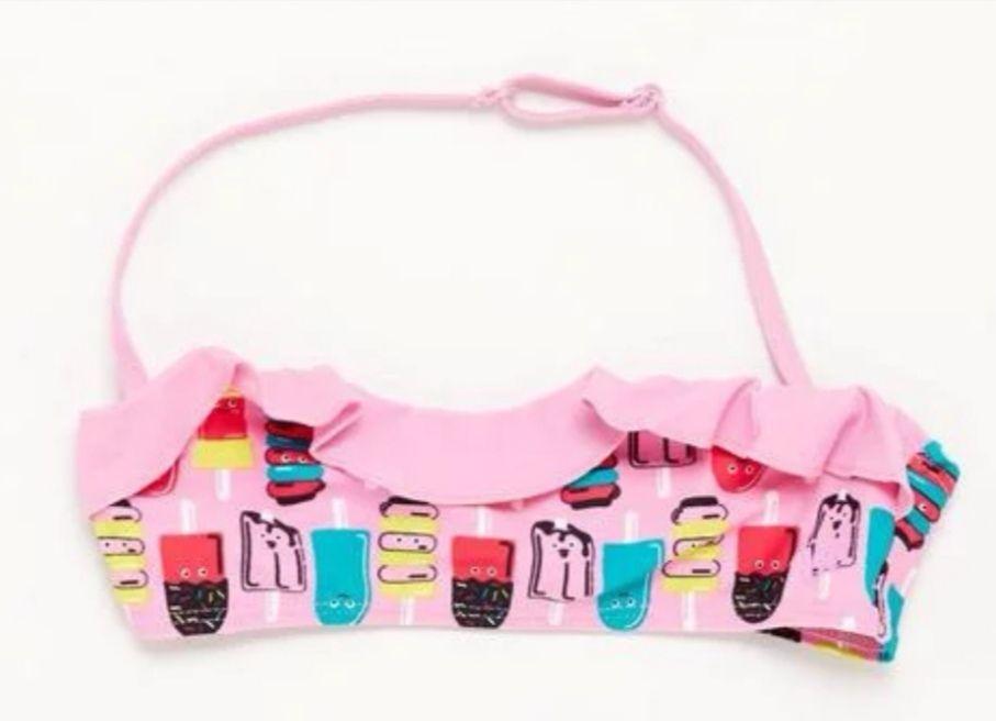 Top Bikini Niña Banda Rosa Multicolor Up.