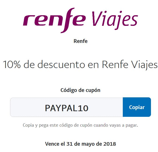 10% Descuento en billetes de RENFE al pagar con PAYPAL