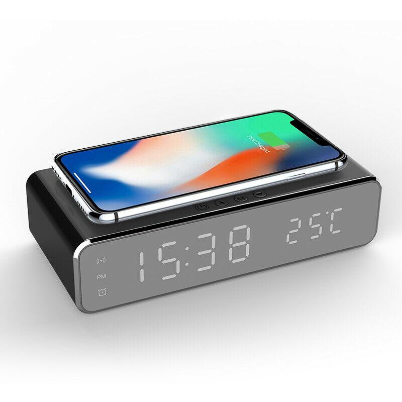 LED eléctrico 12 / 24H despertador con cargador de teléfono inalámbrico Tabla Termómetro