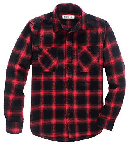 WenVen Camisa de Cuadro Corte Estándar para Hombres