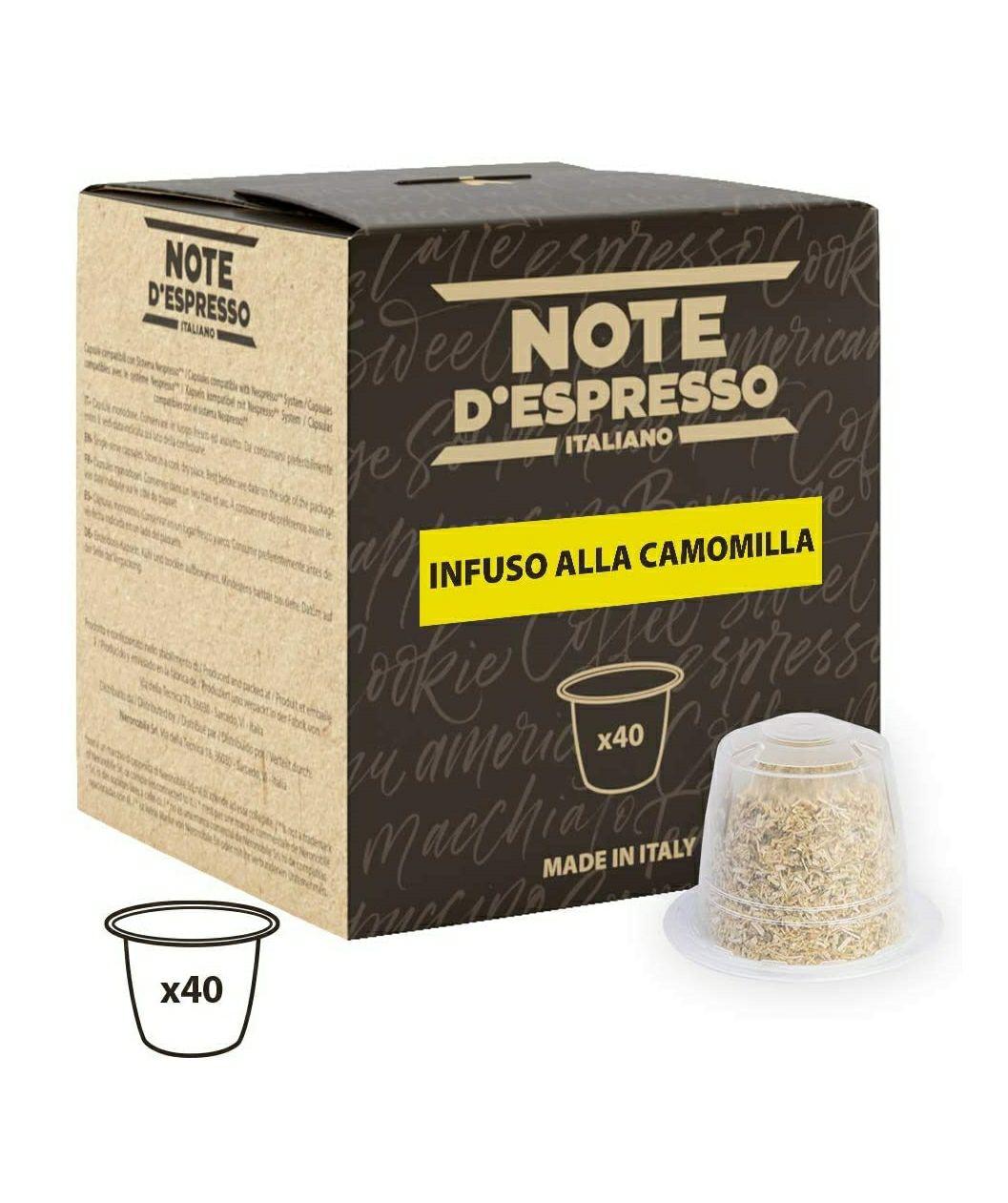 Note D'Espresso - Cápsulas de manzanilla exclusivamente compatibles con cafeteras Nespresso, 2g (caja de 40 unidades)