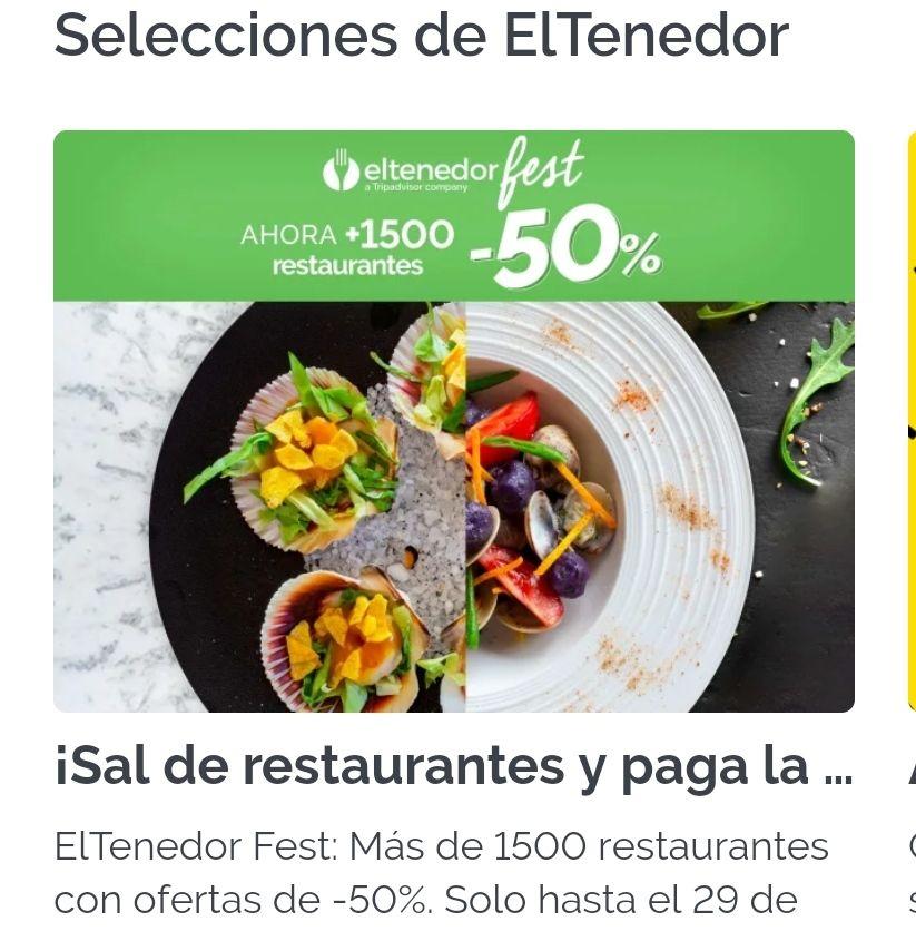 1500 Restaurantes con ofertas del 50% descuento +10€ descuento en tu segunda reserva