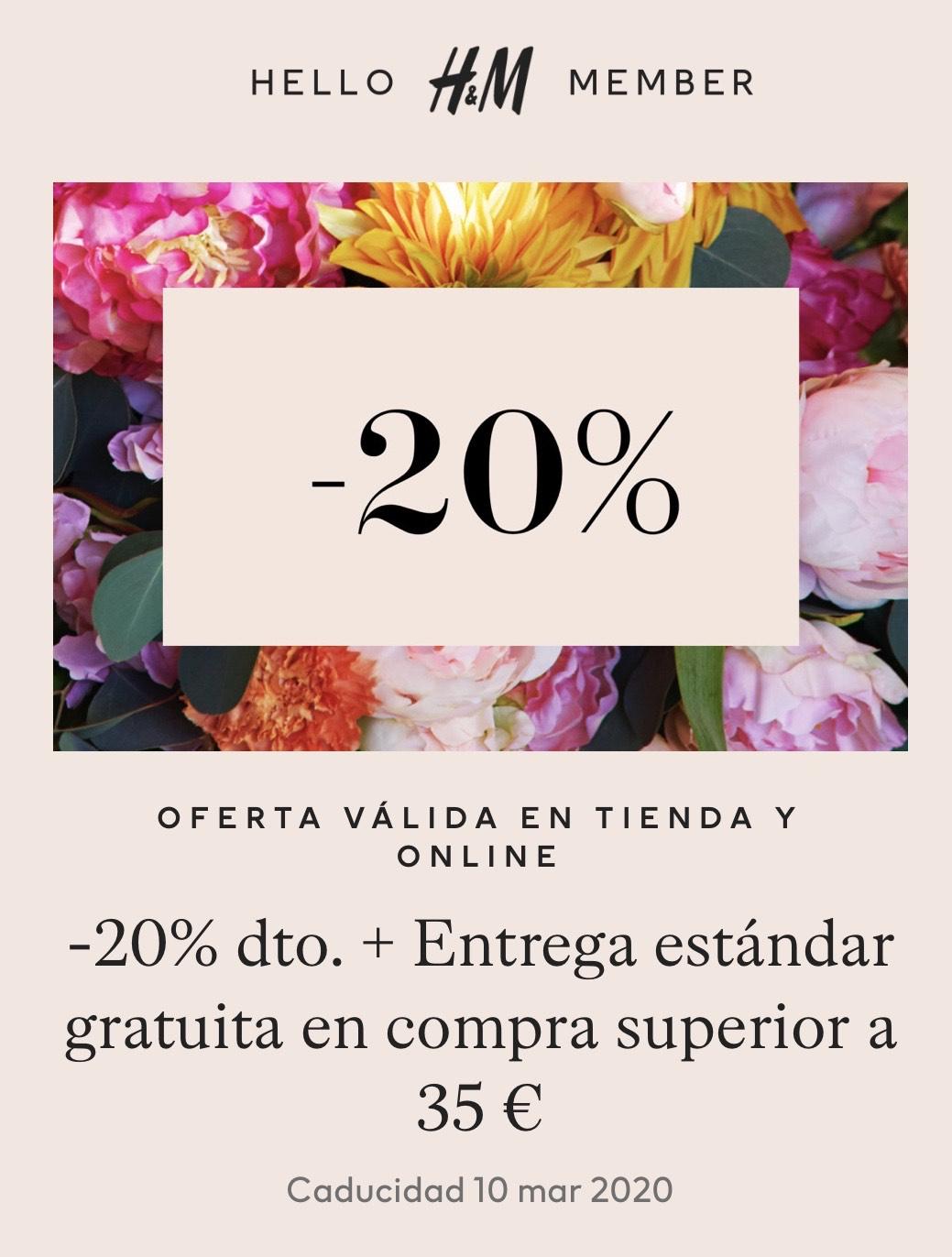 -20% dto en HM en compras de 35€ o mas (Solo Miembros)