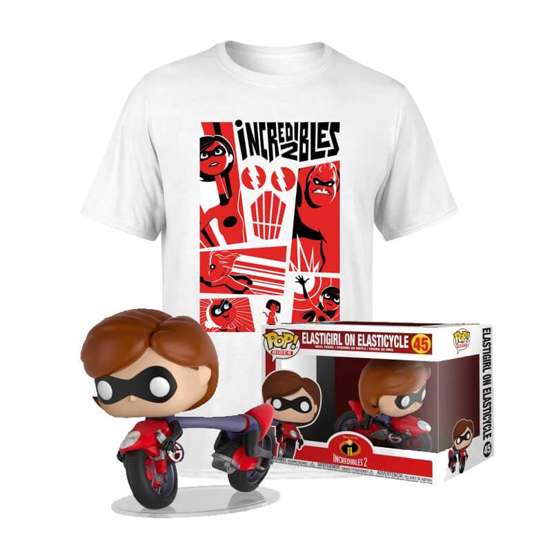 Pack de Los Increíbles 2: camiseta + Funko Pop de Elastigirl en la Elastimoto!