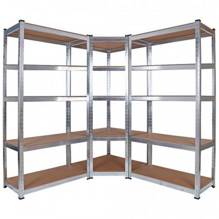 Pack 2 estanterías modulares y 1 estantería esquinera Galvanizadas