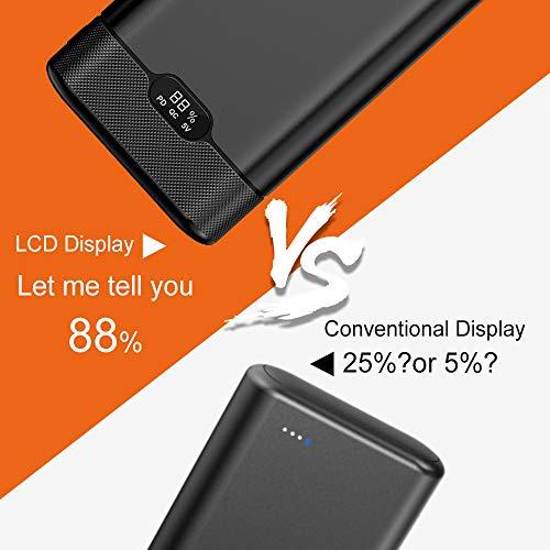 Batería Externa 20000mAh Powerbank con Cargador inalámbrico, pantalla LCD, entrega de energía de 18W,