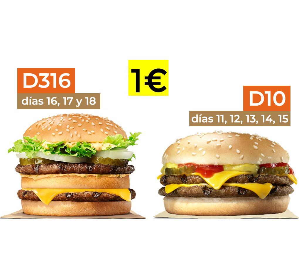 Big King (días 16, 17 y 18) y Doble Cheeseburger (del 11 al 15) a 1€