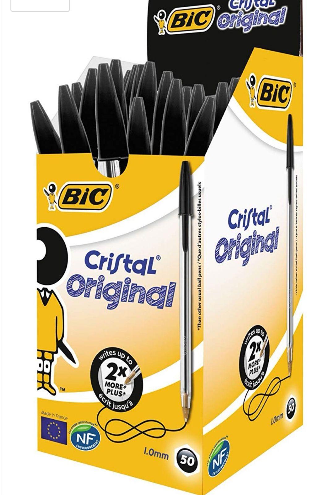 BIC Cristal Original - Caja de 50 unidades. Color negro y Azúl (0.18€ unidad)