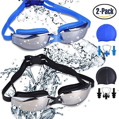 Paquete de 2 gafas de natación, libre de fugas protección UV gafas