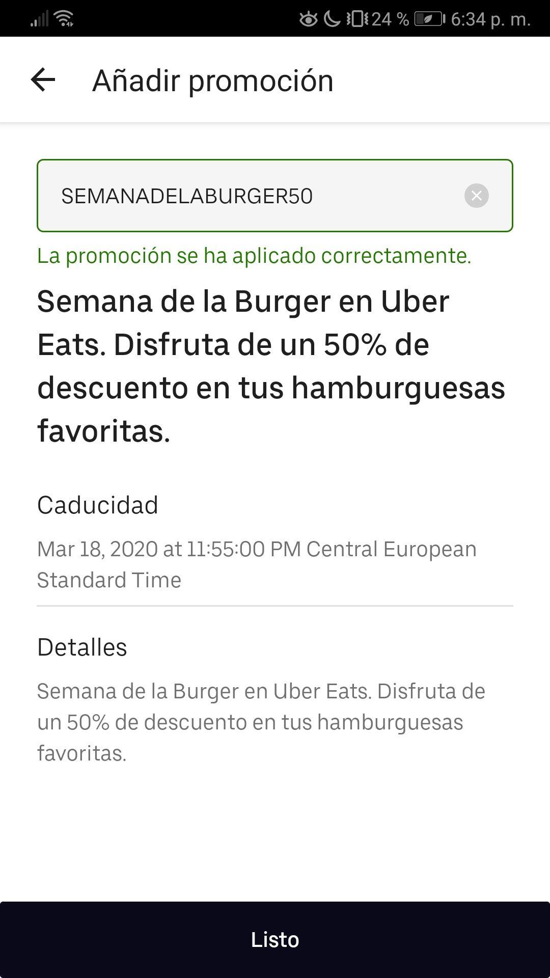50% Descuento en hamburguesas
