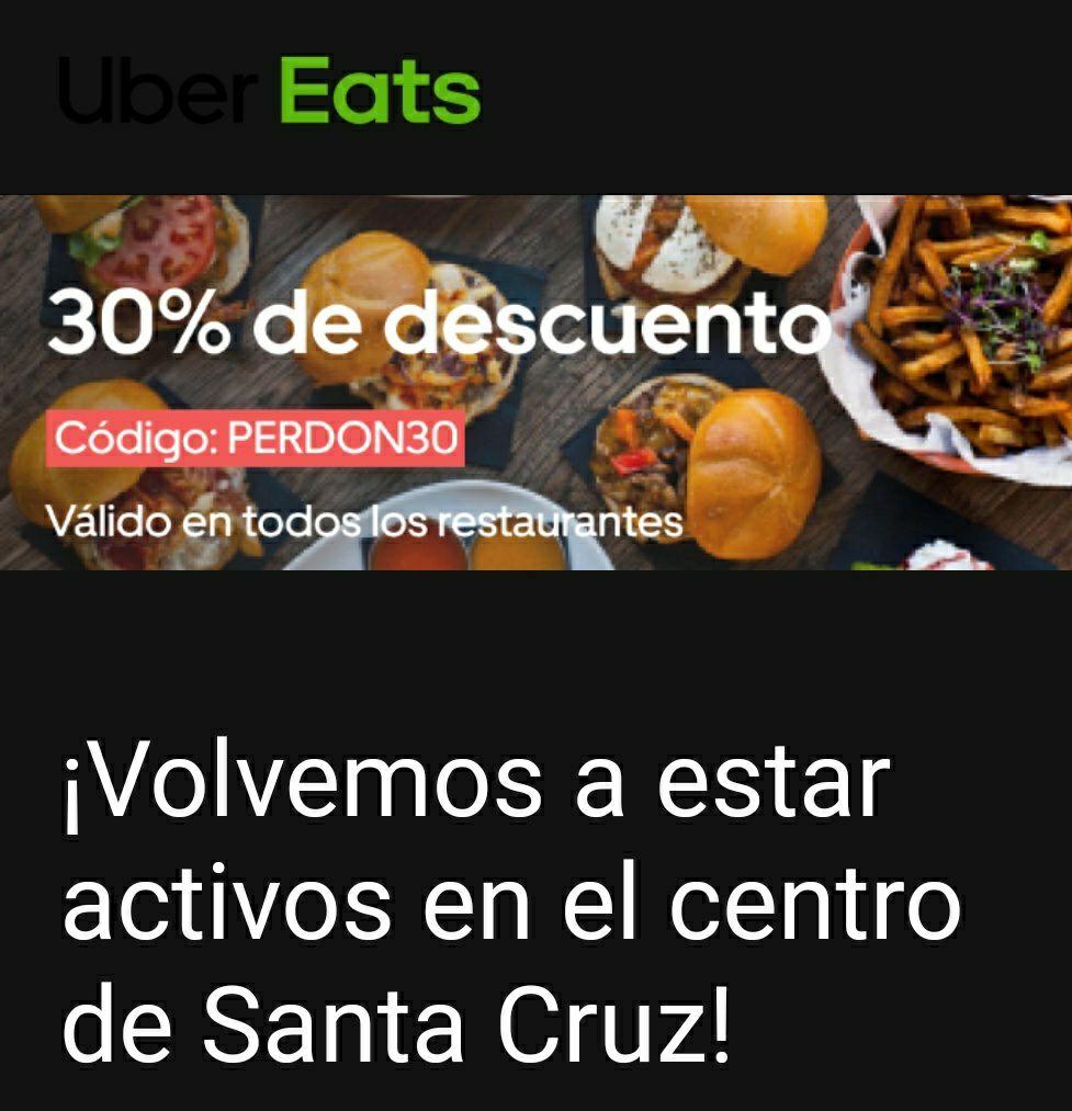 Descuento Uber Eats (Área Metropolitana de Tenerife)