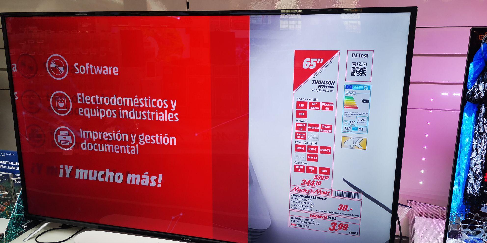 """TV 65"""" Thomson Mediamarkt Malaga"""