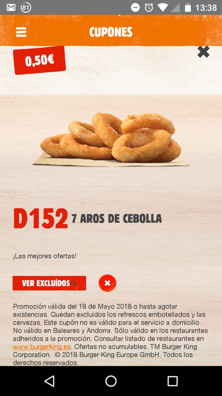 7 aros de cebolla por 0,50€ en BK por tiempo limitado