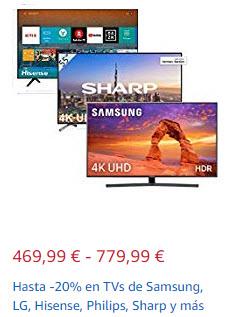Recopilatorio de TV en Amazon: Hasta -20% en TVs de Samsung, LG, Hisense, Philips, Sharp y más