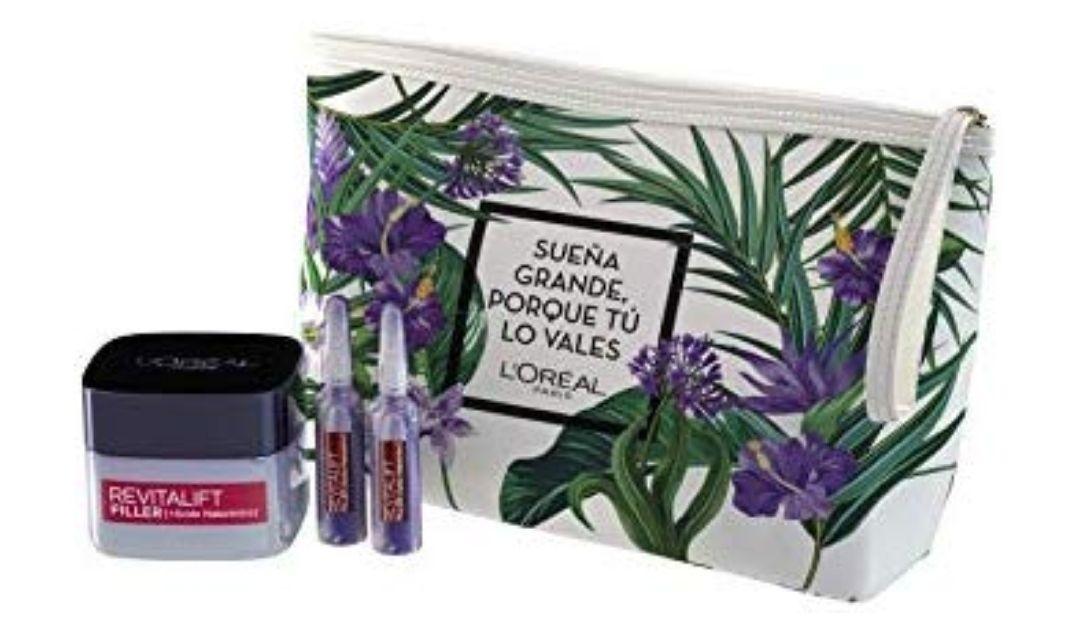 L'Oréal Paris Set de Regalo, Incluye Neceser + Revitalift Filler Crema de Día + Ampollas Rellenadoras