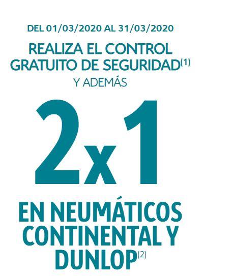 2x1 Para cualquier marca de coche en neumáticos continental y hasta 100€ en combustible. Ademas, seguro de neumáticos gratuito.