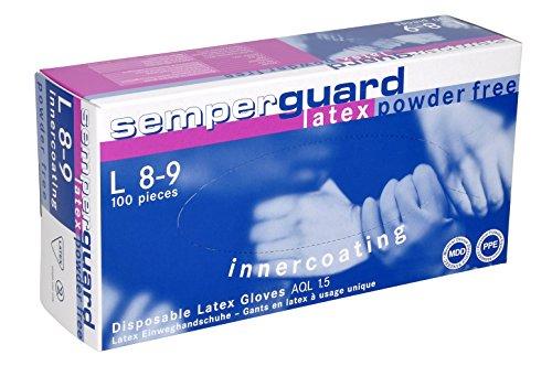 Guantes desechables de látex, sin talco, talla XL (9-10), 90 ud. por caja