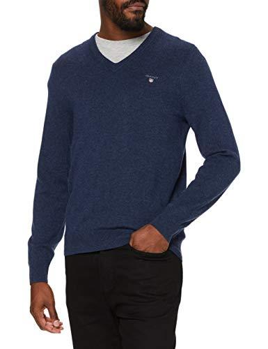 GANT Superfine Lambswool V-Neck suéter para Hombre Talla M.