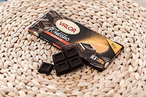 Chocolates Valor, Chocolate Negro 70% con Naranja - 200 gr.