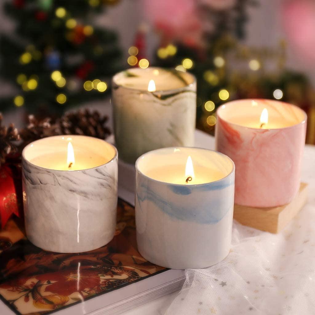 Set de velas perfumadas en taza de cerámica veteada
