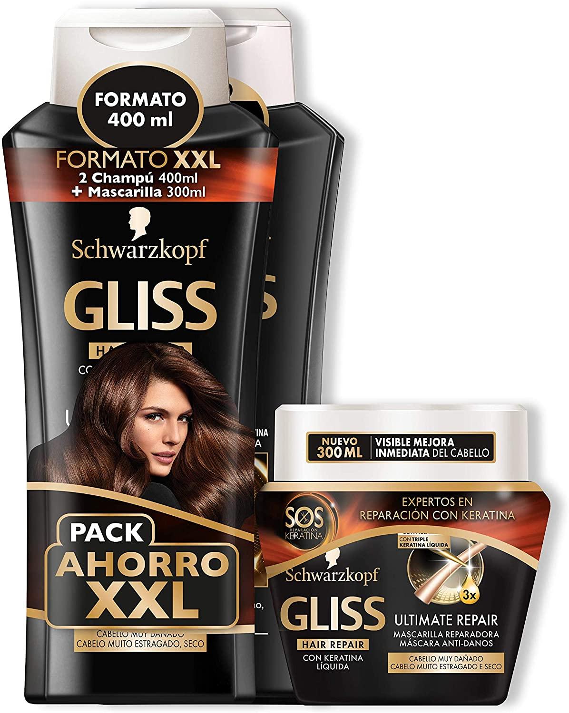 Gliss - 2 Champús 400 ml + Mascarilla Ultímate Repair 300 ml - Schwarzkopf