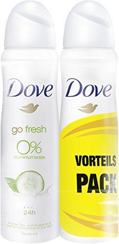 6unidades de 150 ml Desodorante Dove en spray de té verde y pepino, 0% de sales de aluminio,