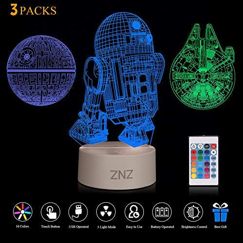 Lámpara LED 3D Star WArs - Death Star + R2-D2 + Millennium Falcon, Tres patrones y 16 colores.