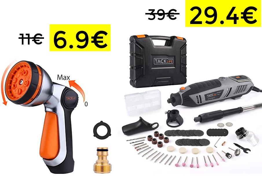 Preciazos TACKLIFE - Amoladora y pistola de riego