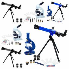 ColorBaby - Kit telescopio con 3 lentes oculares (44831) y ColorBaby - Microscopio con accesorios y luz Kidz Corner (44832).