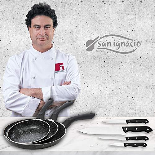 San Ignacio Black&Marble - Set 3 sartenes (16-20-24 cm) y 4 cuchillos
