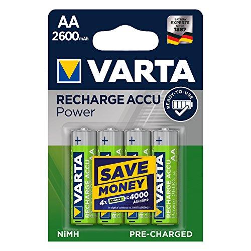 Varta ACCU - Pack de 4 pilas AA recargables (NiMH, 2600 mAh, precargadas)
