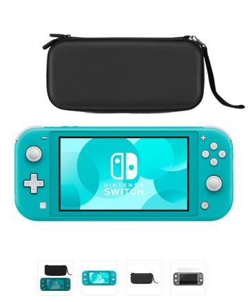 Nintendo Switch Lite - Turquesa con Funda Premium (Negro) y Protector de Pantalla de Vidrio Templado