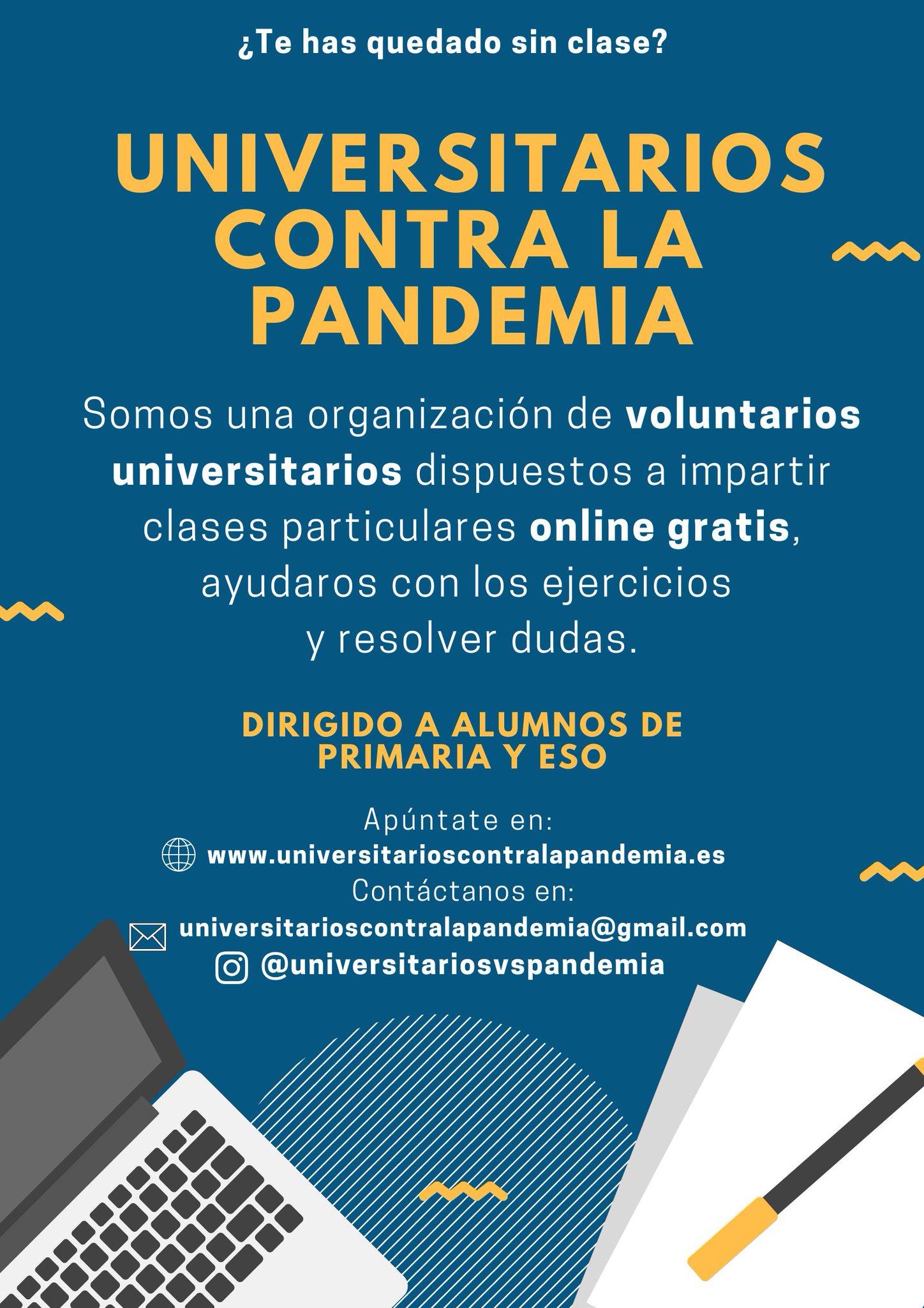 #QuedateEnCasa Universitarios vs Pandemia: clases online GRATIS para Primaria y ESO por universitarios