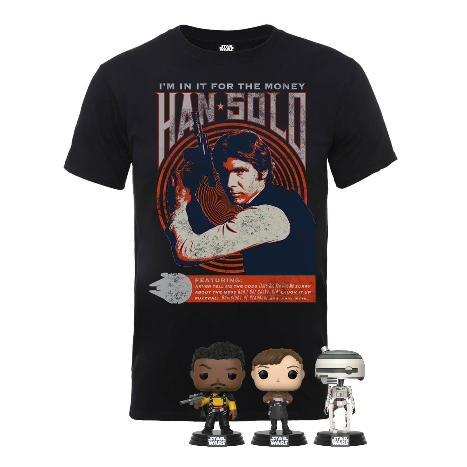 Camiseta Han Solo + 3 Funko Pop! 20.4€