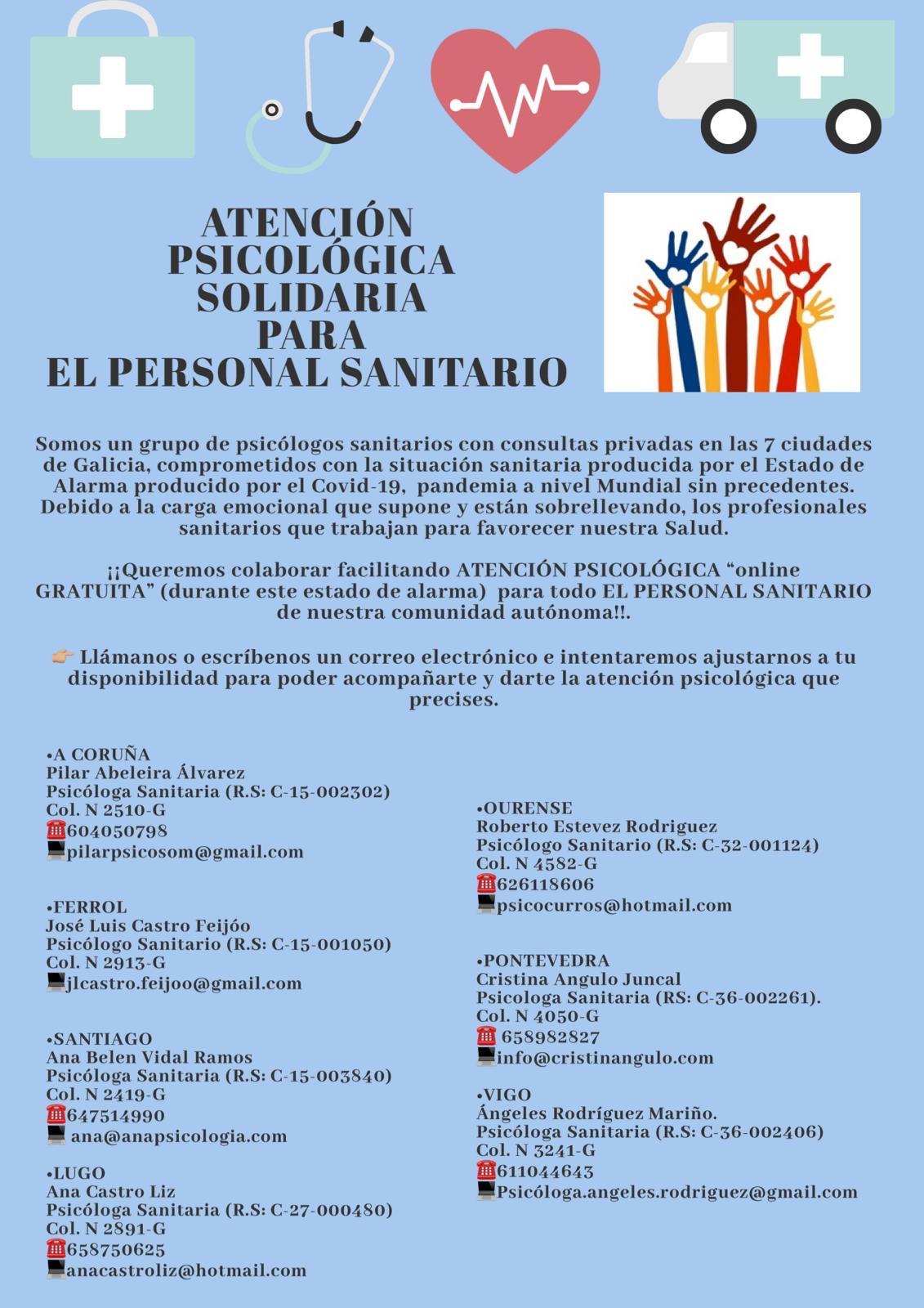 Asistencia psicológica gratuita para sanitarios en Galicicia