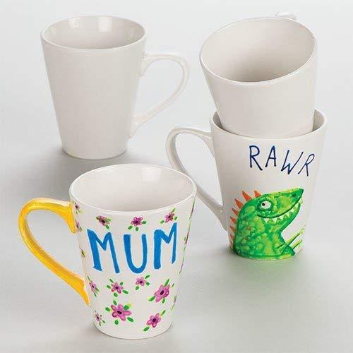 """Pack de 4 tazas de porcelana de 10 cm para decorarlas con los peques (Reaco """"Como Nuevo"""")"""